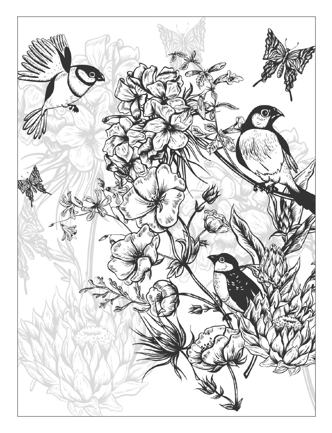 Detailed butterfly coloring pages - Beautiful Flowers Detailed Floral Designs Coloring Book Preview