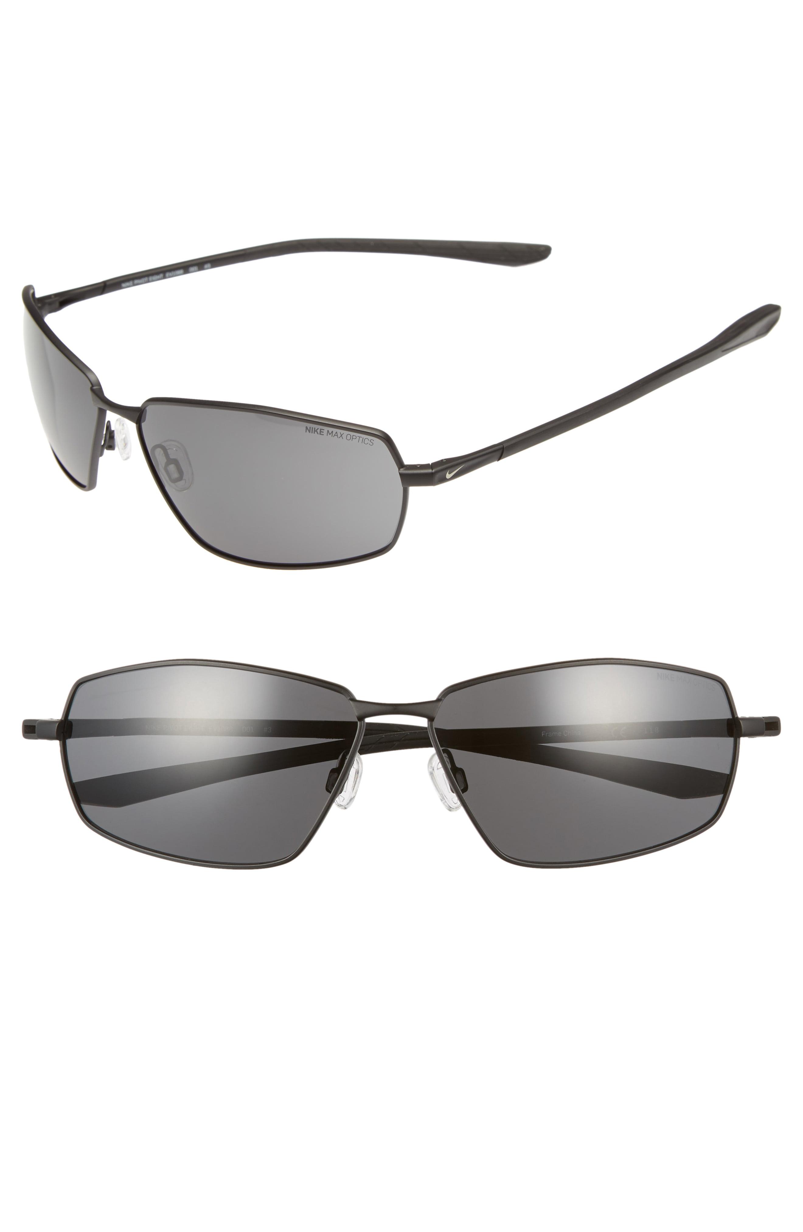 4136d8c87 Men's Nike Pivot Eight 63Mm Oversize Sunglasses - Satin Black/ Dark Grey