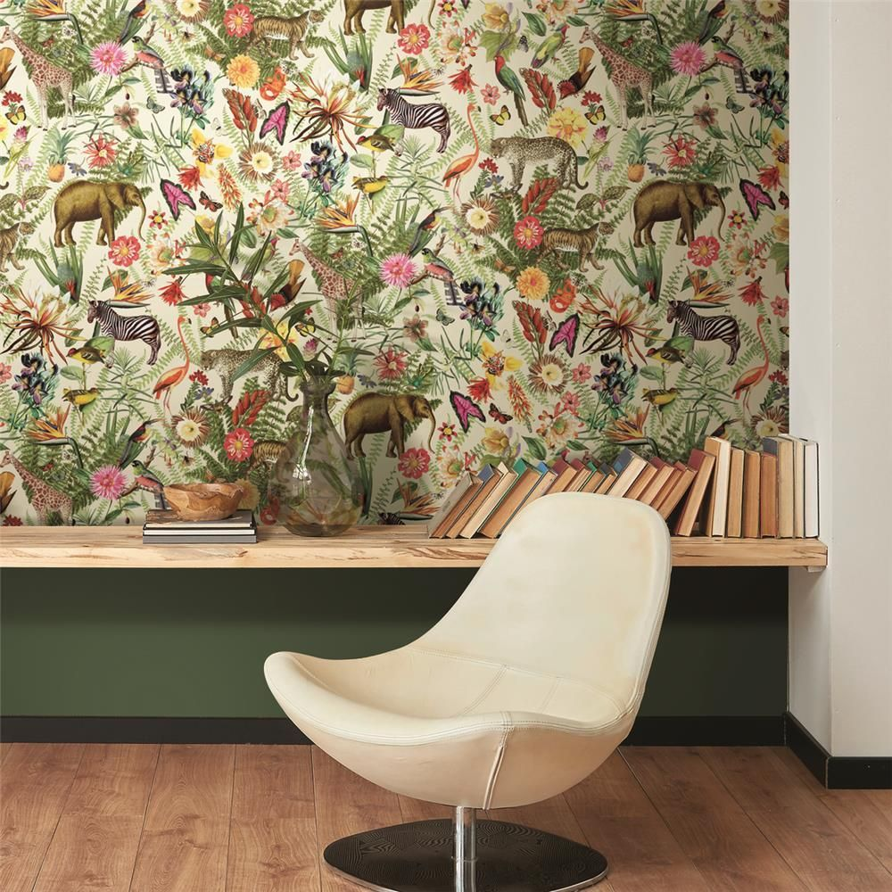 Tropical Zoo Peel Stick Wallpaper By Roommates For York Wallcovering Peel And Stick Wallpaper Peelable Wallpaper Wall Coverings