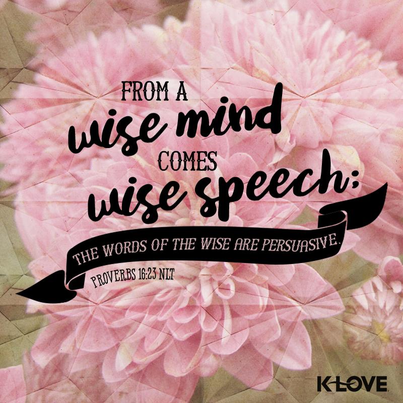 Proverbs 16:23...klove.com/verse