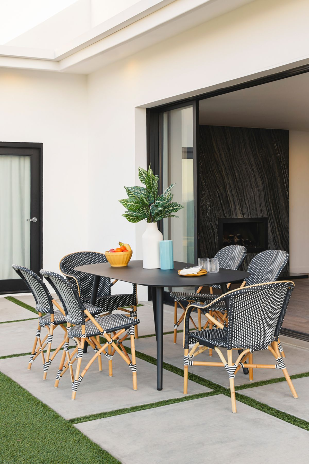 Toulouse Black And White Dining Armchair Black Patio Furniture Oval Table Dining Modern Outdoor Dining Chairs