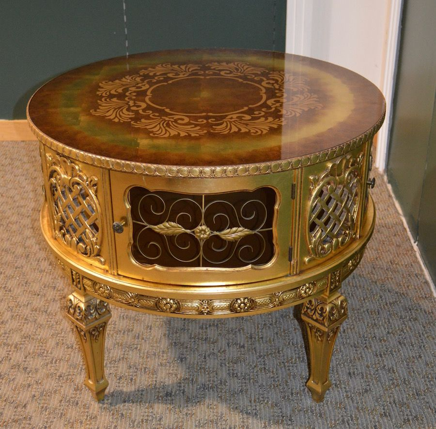 Vintage very ornate french provincial drum table w painted for Table 60x120