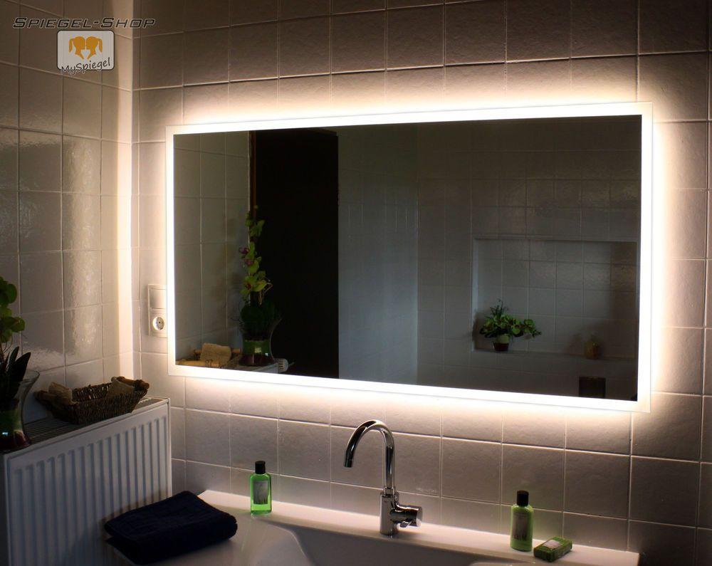 Details Zu Led Badspiegel Allround Nach Mass Mit Beleuchtung