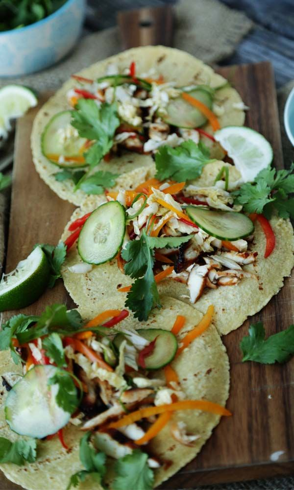 Korean Bbq Chicken Tacos With Sweet Cucumber Coleslaw And Rice Wine