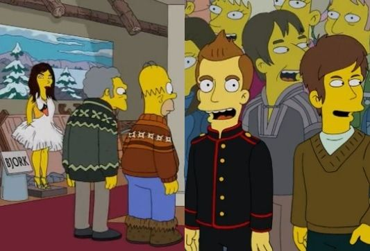 Bjork and Sigor Ros cameo on The Simpsons when Homer and friends travel to Iceland.
