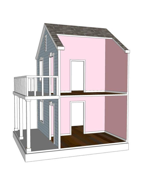 Doll House Plans For American Girl Or 18 Inch Dolls 4 Room Side