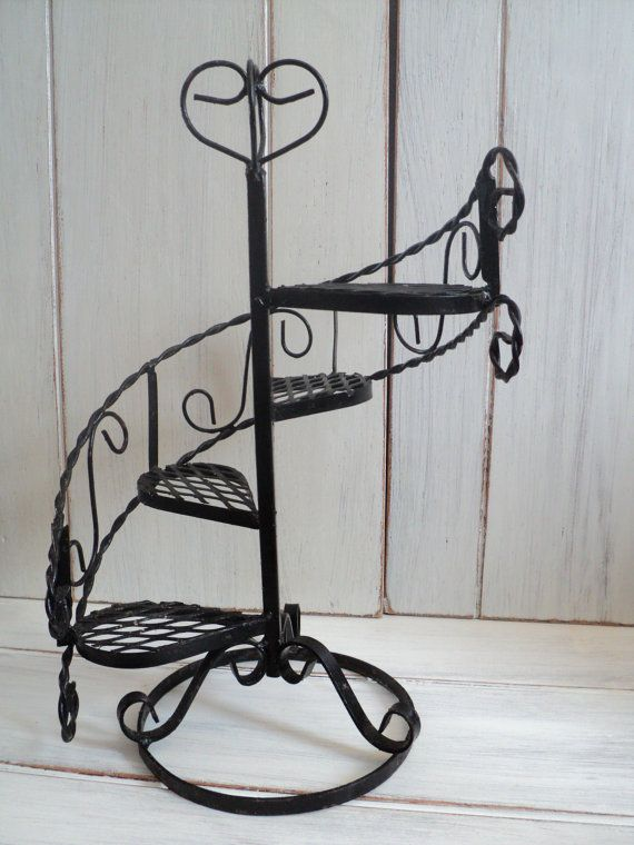 Best Vintage Black Metal Wrought Iron Look Spiral Staircase 400 x 300