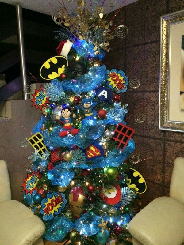 Christmas Tree Super Heroes Tree Christmas Trees For Kids Creative Christmas Trees Christmas Tree Themes