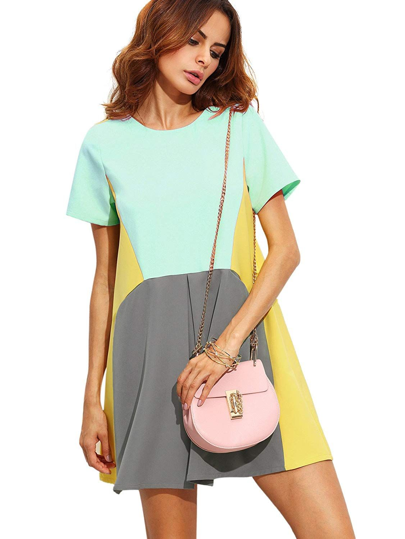 9dc0b4e1d28 SheIn Women s Cute Short Sleeve Pockets Color Block Casual Swing Tunic Dress  at Amazon Women s Clothing store