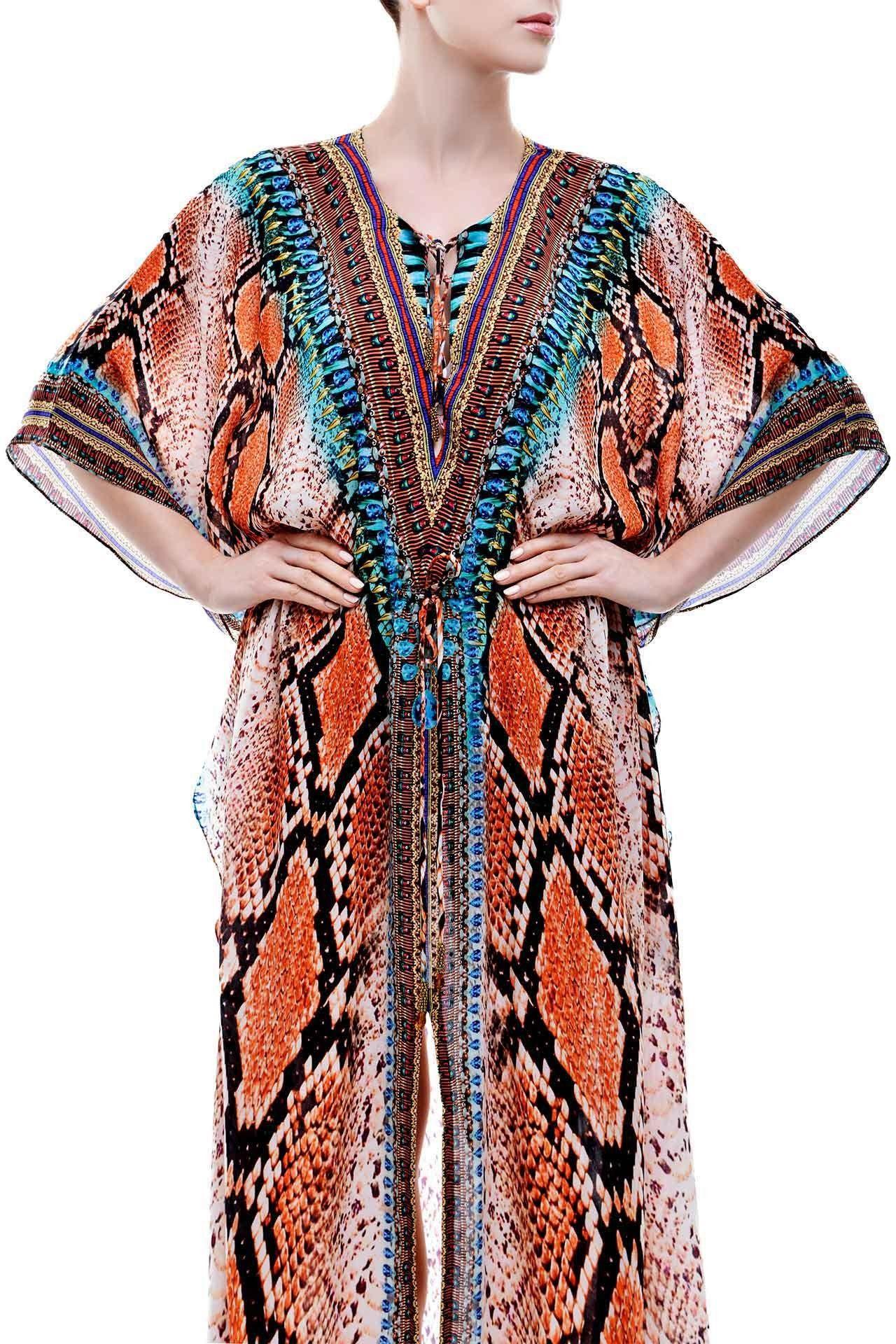 1bf25ad00f Brown Dress In Snake Print in 2019 | Dresses | Dresses, Kaftan tops ...