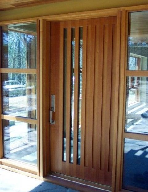 Modern Wood Front Door With Vertical Glass Panes Front Entrance