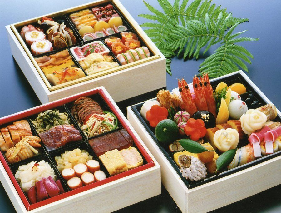 an example of traditional Japanese New years dinner