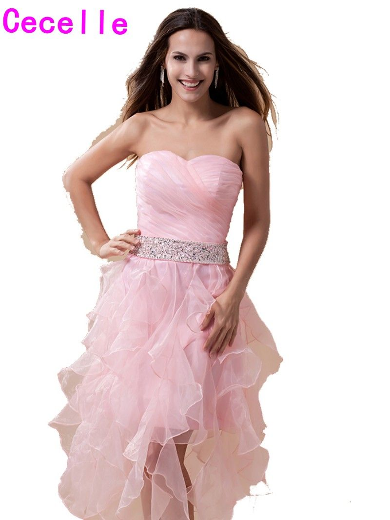 ab0b11a2749 Click to Buy    pink High Low Homecoming Dresses Short Sweetheart Ruffles  Organza Homecoming Gowns Beaded Ruffles Homecoming Cocktail Dresses   Affiliate