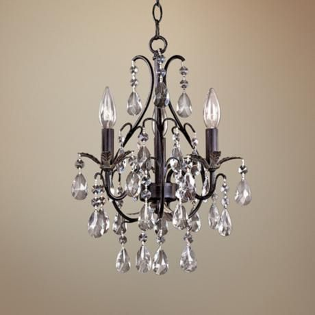 Castlewood Walnut And Crystal 3 Light Small Mini Chandelier