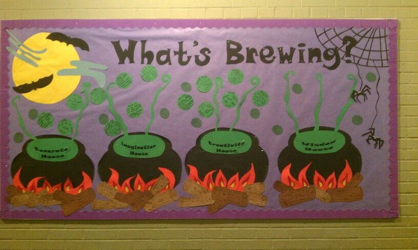 October board. Each house wrote what they were working on in their classrooms. Fun!