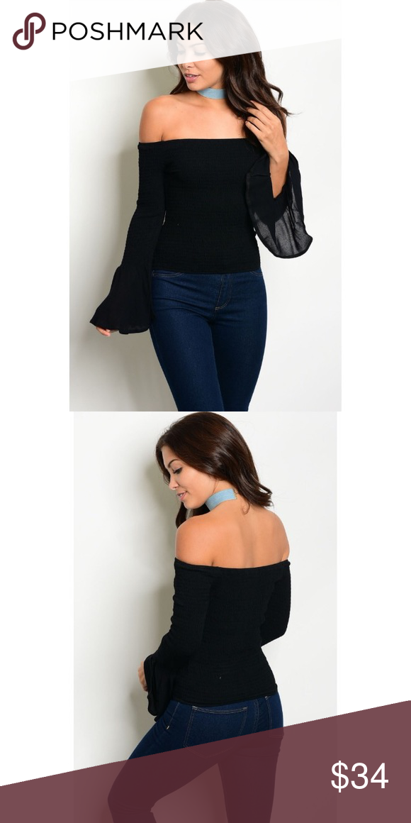 b921d813dd13bb Black Off-Shoulder Long Bell Sleeves Top New with tags. This top is perfect  for that easy, breezy look this Spring & Summer.
