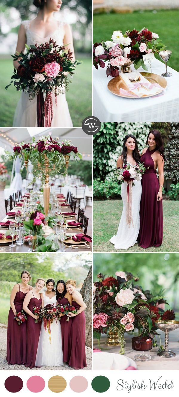 wedding trends: 10 fantastic burgundy color combos for 2017 | pink