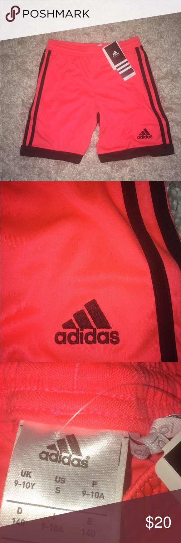 Adidas coral climacool workout shorts athletic Never worn. Tags still attached. No marks. No rips. Neon coral color. Size small. Kept in a smoke free and pet free home :) adidas Shorts