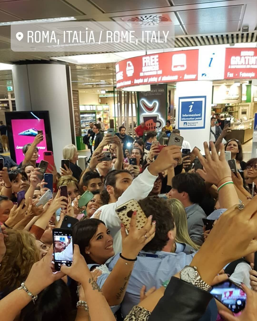 Can Yaman Arrived At Rome Airport Under Police Protection Crowd Of Fans Made Him Proud Rome Airport Turkish Actors Heartthrob