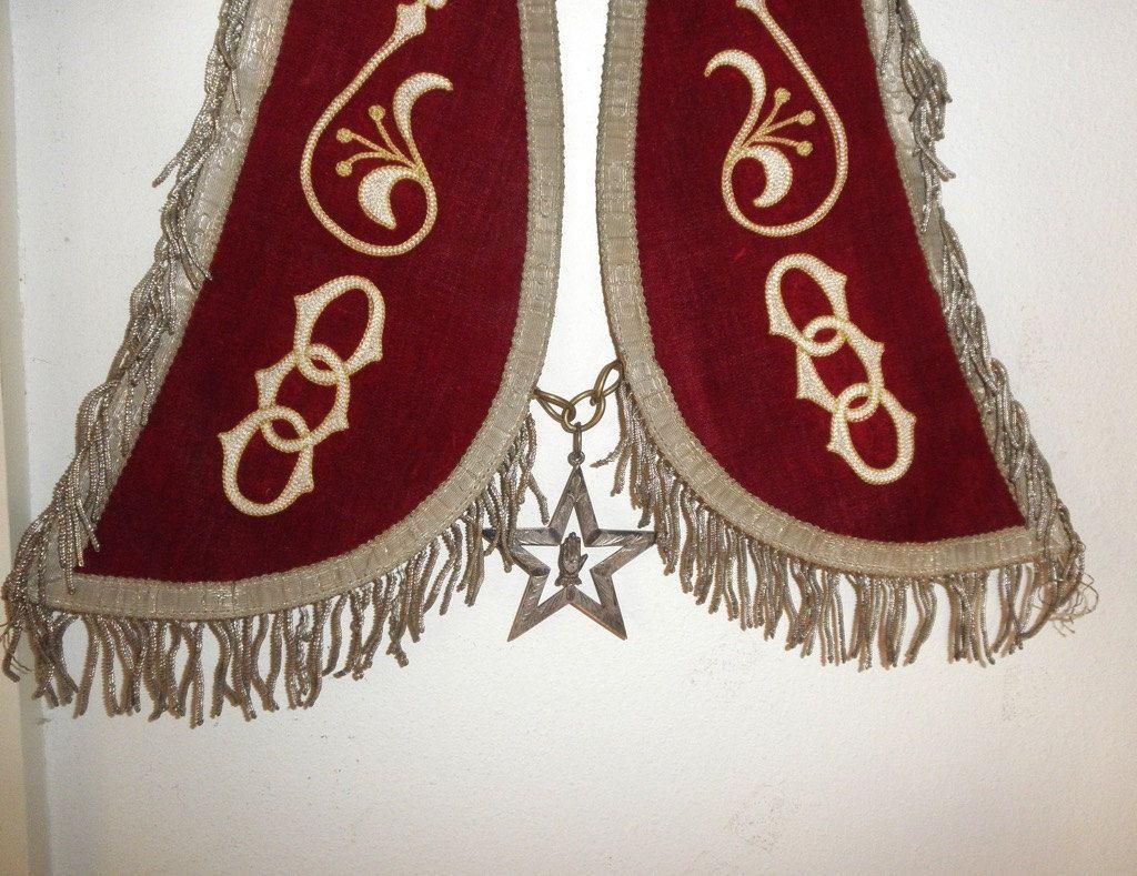 Antique s odd fellows regalia ornate red velvet and silk