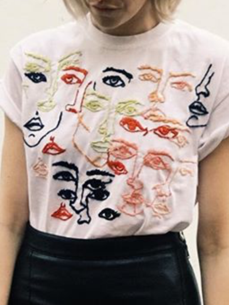 T-shirt hand embroidered with contemporary faces really ...