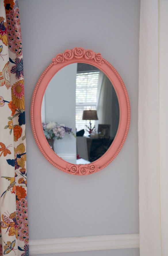 Diy Spray Painted Peach Oval Mirror Color Is Quot Brushed Rose Quot By Valspar