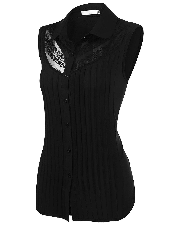 46603cbb8c29e2 Womens Pleated Sleeveless Summer Shirt Button Down Pintuck Lace ...