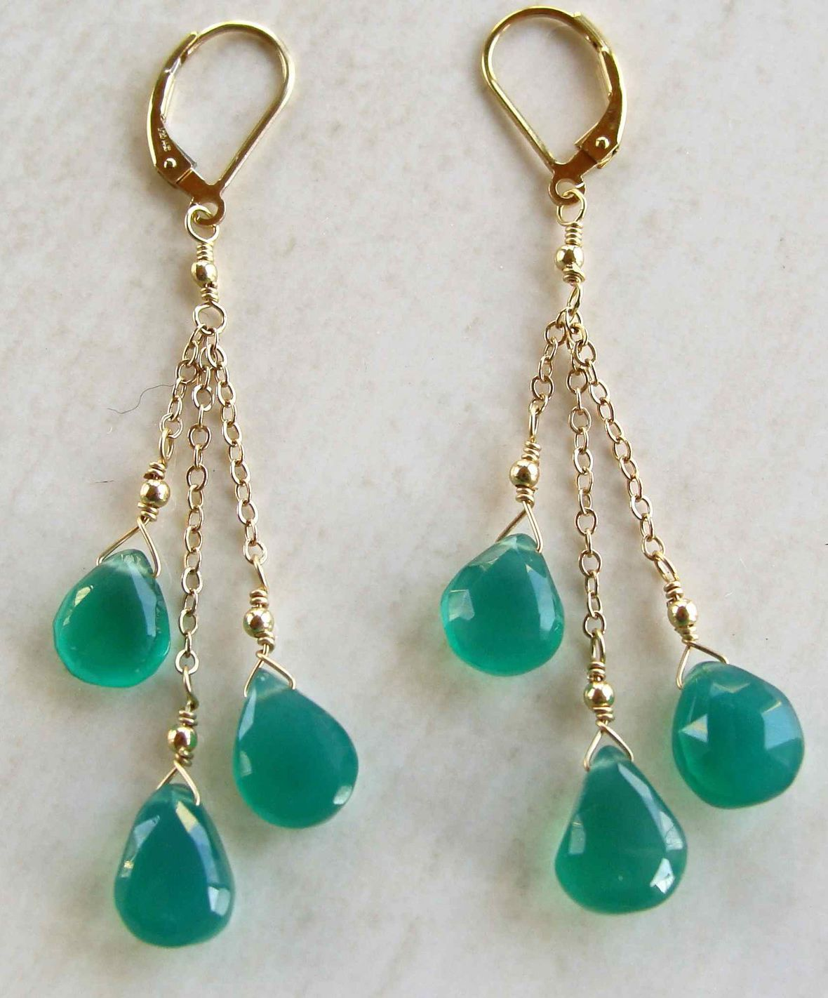 Items similar to Edisto Earrings with Green Onyx Handmade Gold Filled Spring Fashion on Etsy