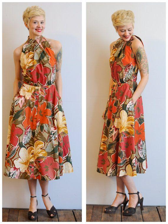 1980s Midi Dress // Summer Escape Dress // vintage 80s bold floral dress on Etsy, $78.00