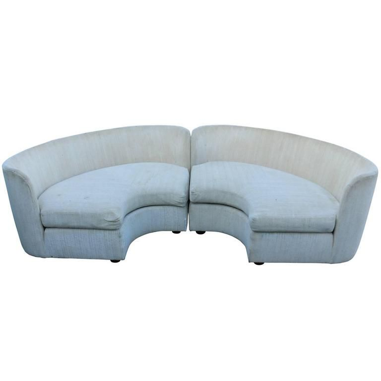 Pair Of Curved Semi Circular Sofas By Henrendon From A Unique