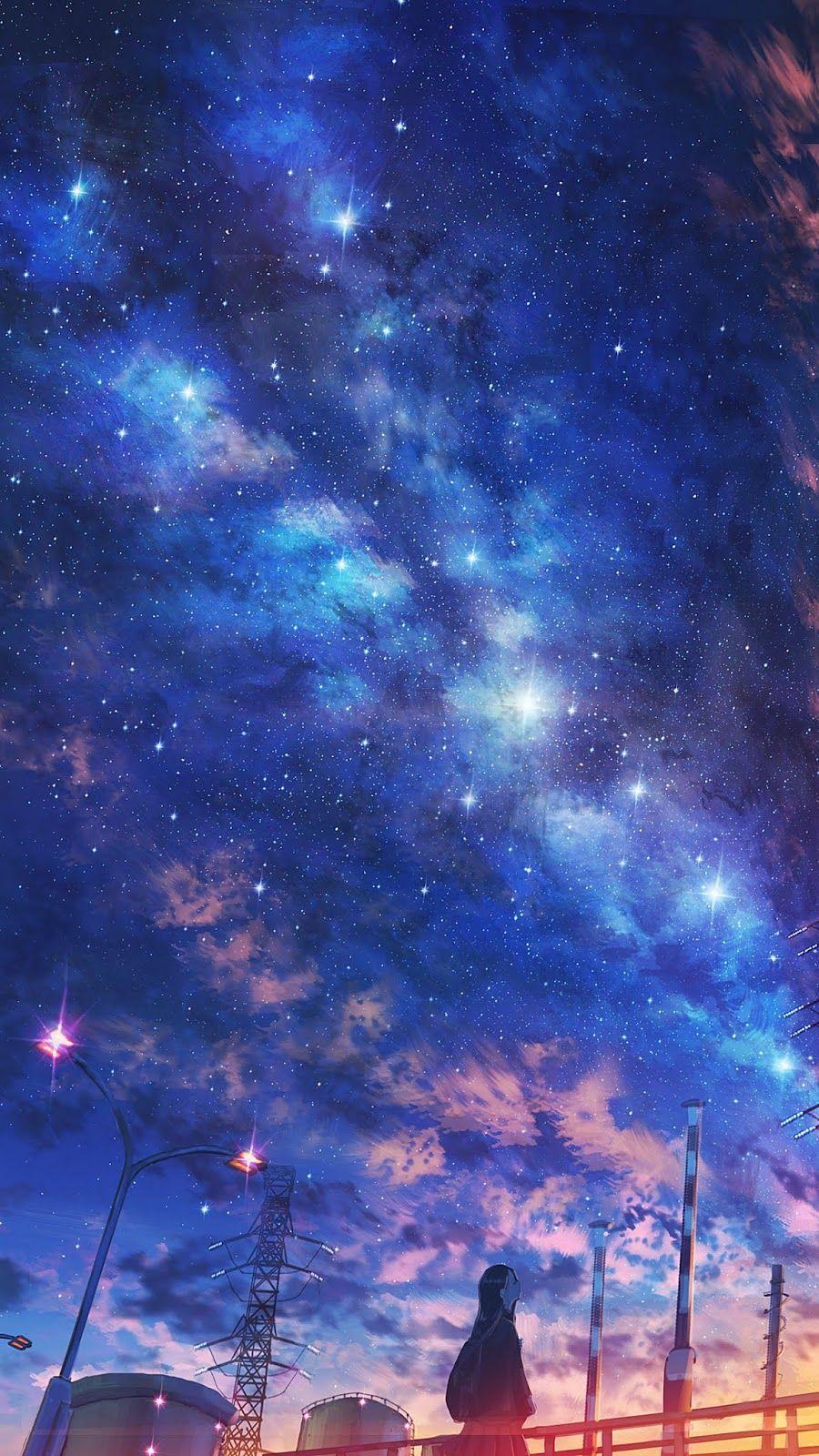 Gece Gokyuzu Altinda Pemandangan Anime Fotografi Alam Pemandangan Anime night scenery wallpaper