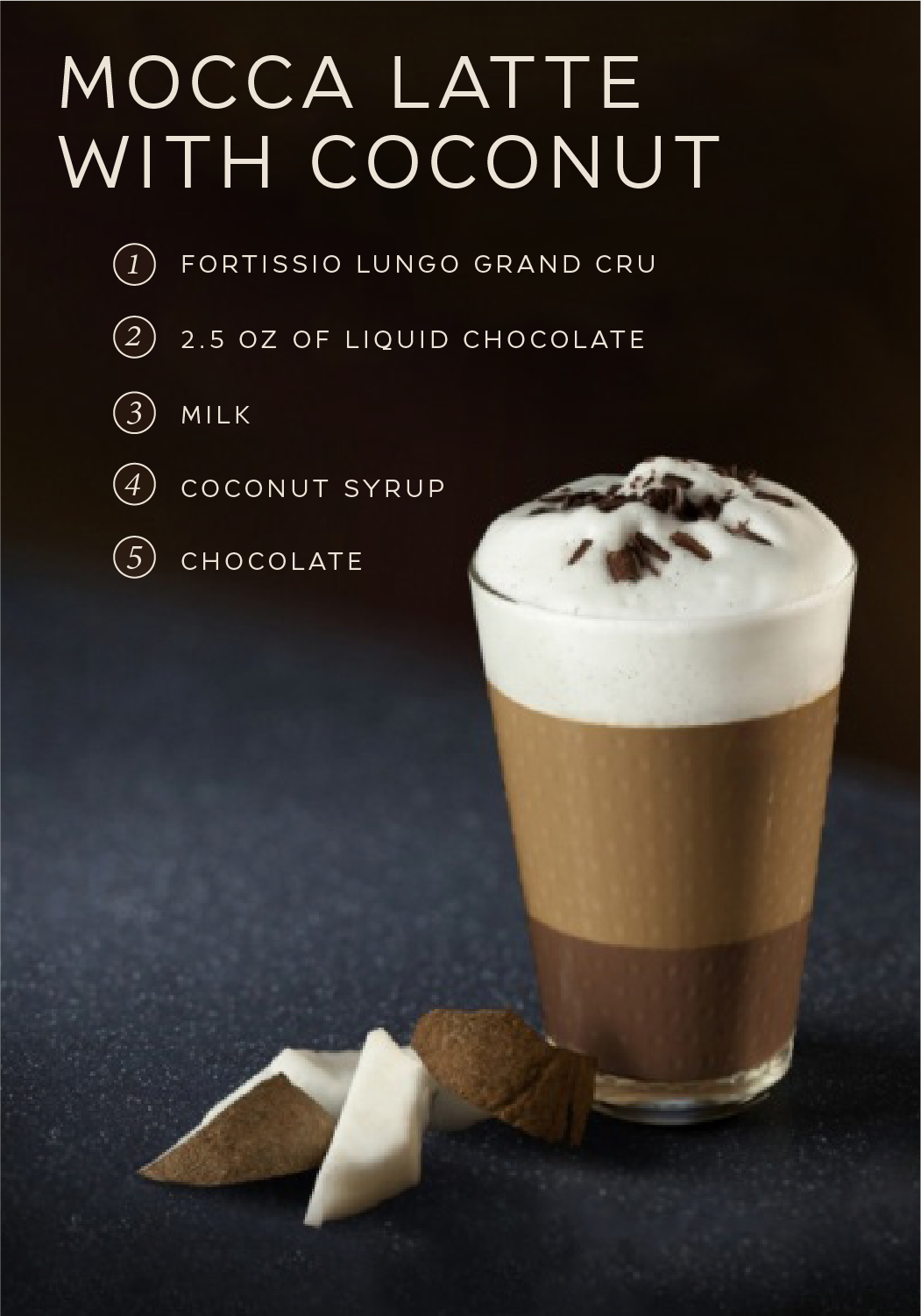 Mocca Latte With Coconut Recipe Coffee Recipes Nespresso Recipes Coffee Menu