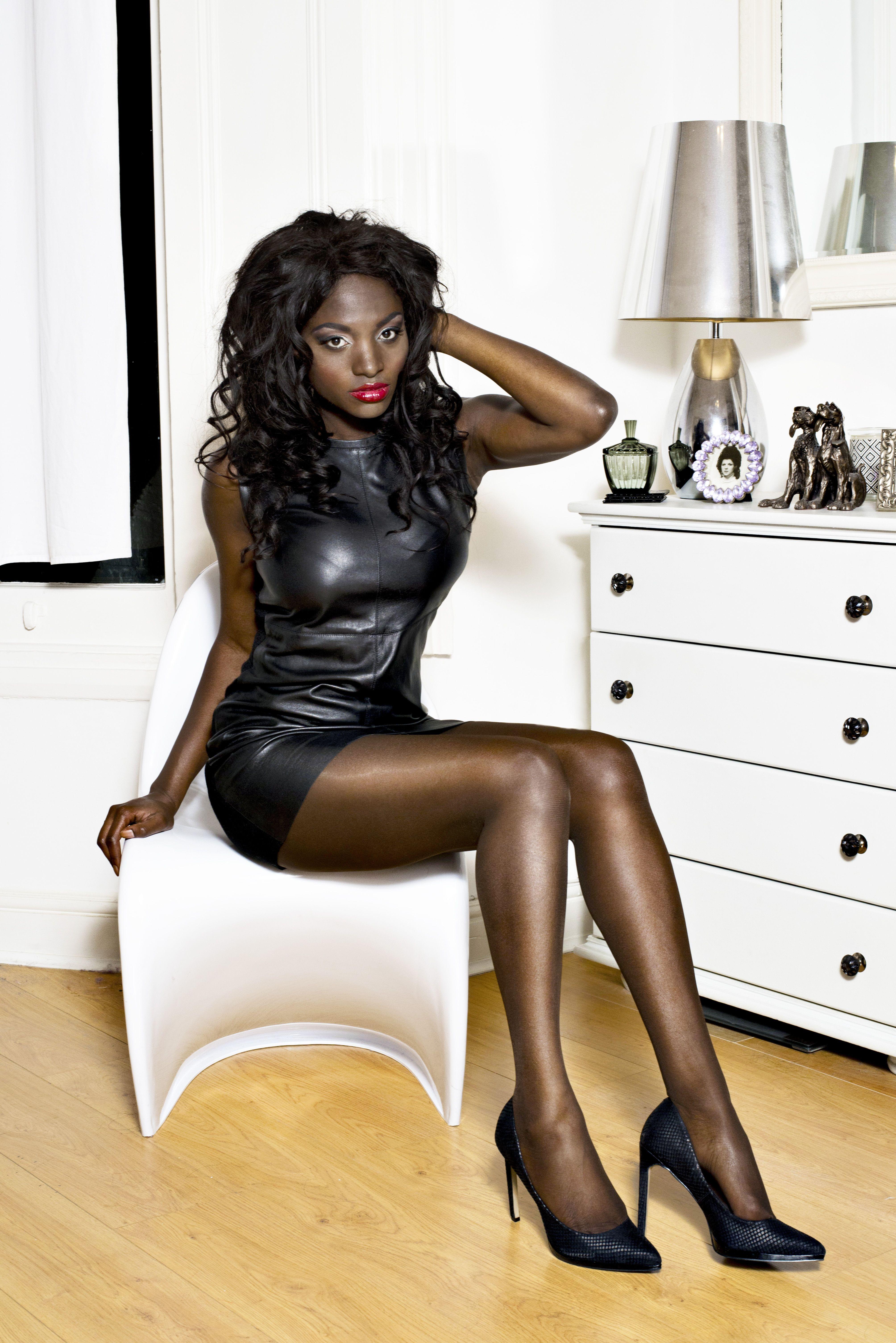 Ebony Women In Leather