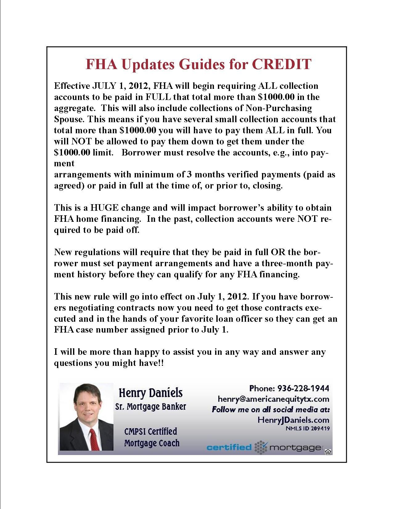 July 1st new rules for credit collections when applying