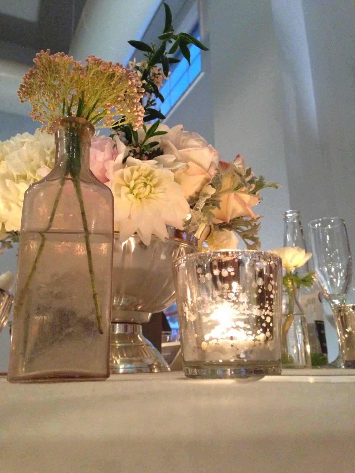 Wedding Table Decor Mercury Votive Candles And Bud Vases Silver Vintage Antique Centerpiece