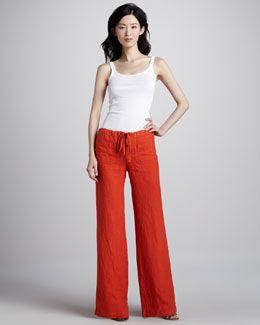 9b66b978c2 Vince Linen Drawstring Beach Pants, Coral | fashion | Beach pants ...