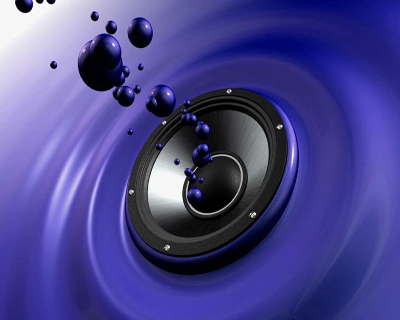 3d Wallpaper With Blue Loudspeaker Image