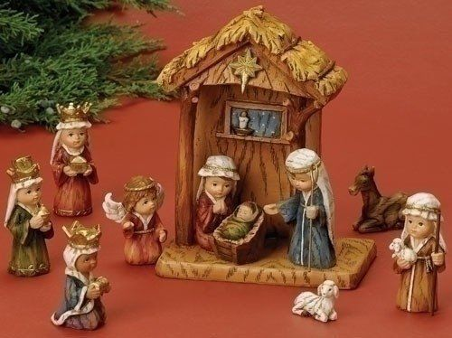 WoodWorks 11-Piece Nativity Set Featuring Children as The Holy Family an Angel, #WoodWorks