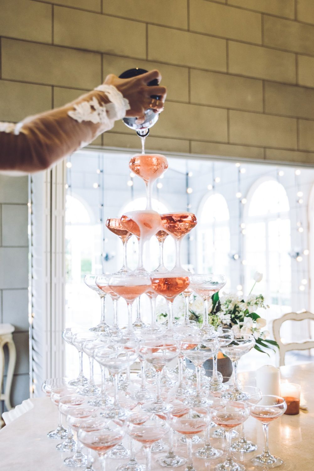 DIY Champagne Tower with Campbell Point House | DIY Weddings ...