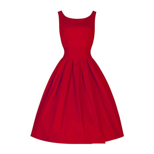 Red a line pleated dress