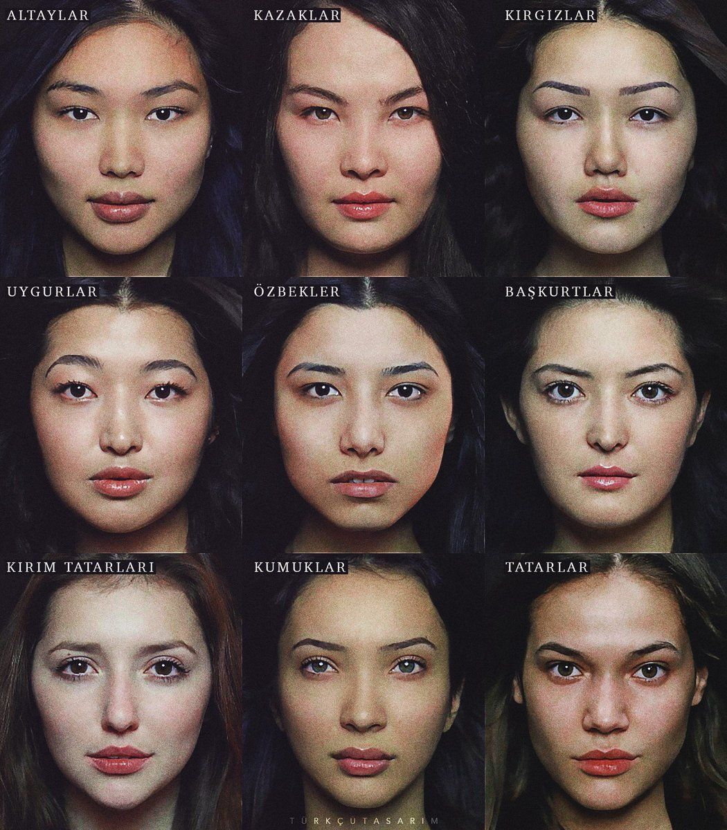 Turkic woman from different ethnic groups (Altai,.