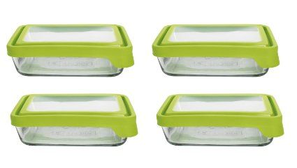 d1ada3cc7d4c Anchor Hocking 6-Cup Rectangular Food Storage Containers with Green ...