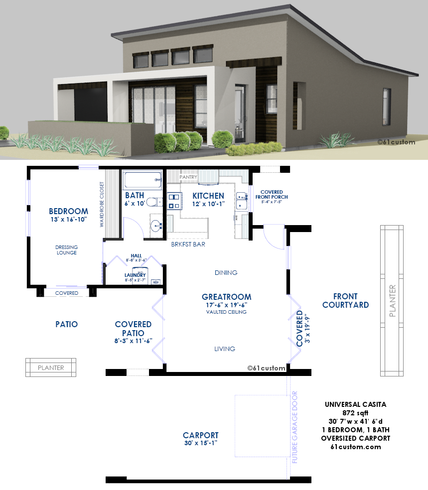 Universal Casita House Plan 61custom Contemporary Modern House Plans Small Modern House Plans Courtyard House Plans Modern House Plans