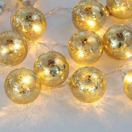 Mercury Glass Decorative Balls Adorable Set Of Of 20 Gold Speckled Mercury Glass Decorative Globe Battery Inspiration Design