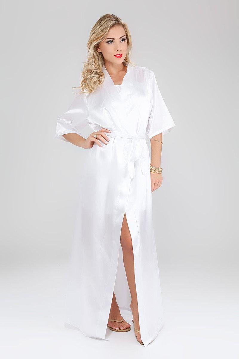 c9f12fdf6 Robe Longo Feminino Em Cetim Tamanho  P Cor  Branco - Ap18 - R  42 ...