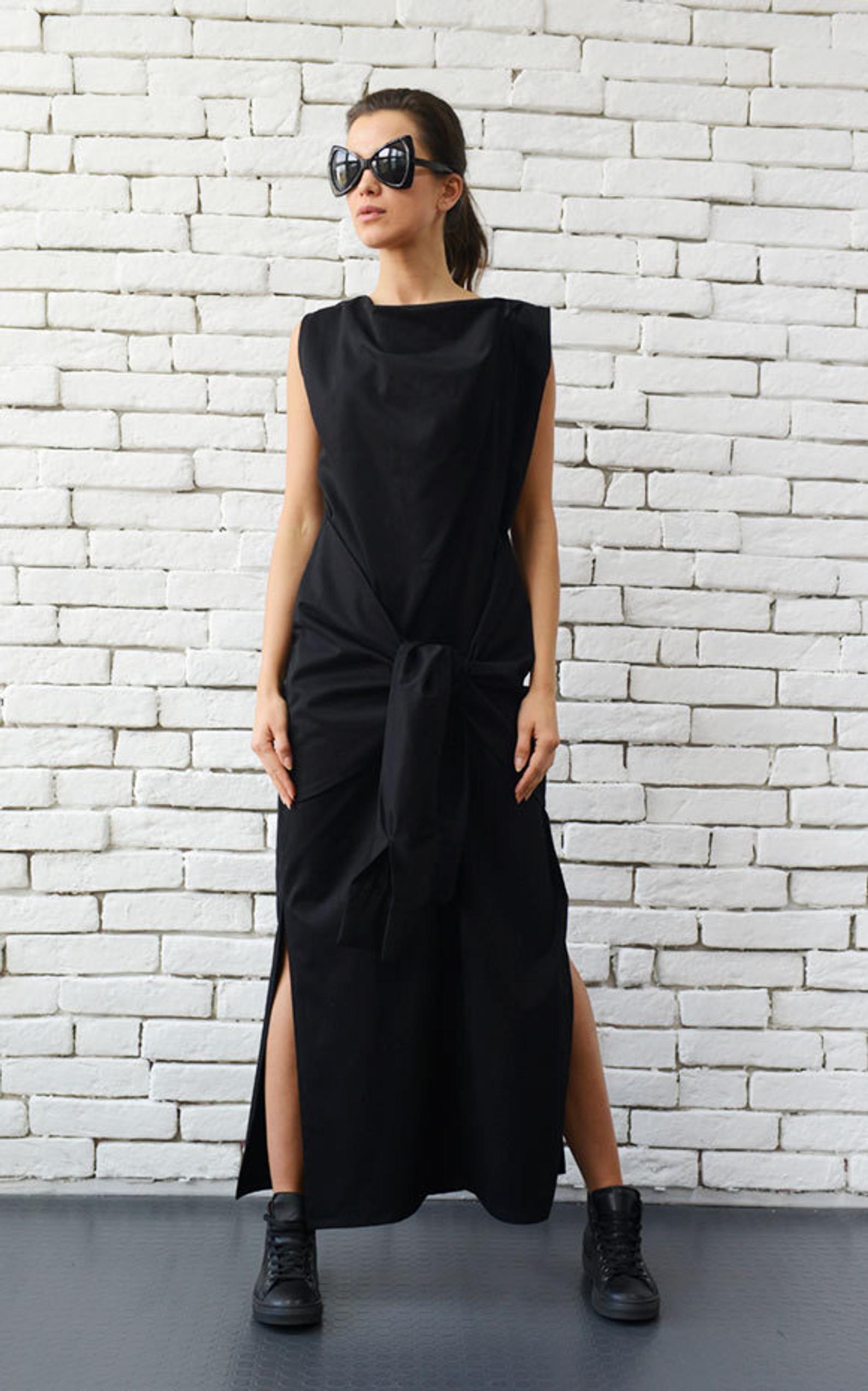 extravagante schwarze lange kleid mit krawatten/sleeveless