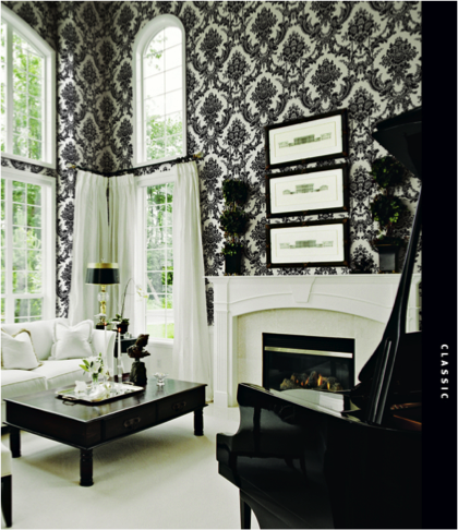 The Whitetail (SW 7103) trim and accents throughout the Victorian inspired living room create a stark contrast to the black.