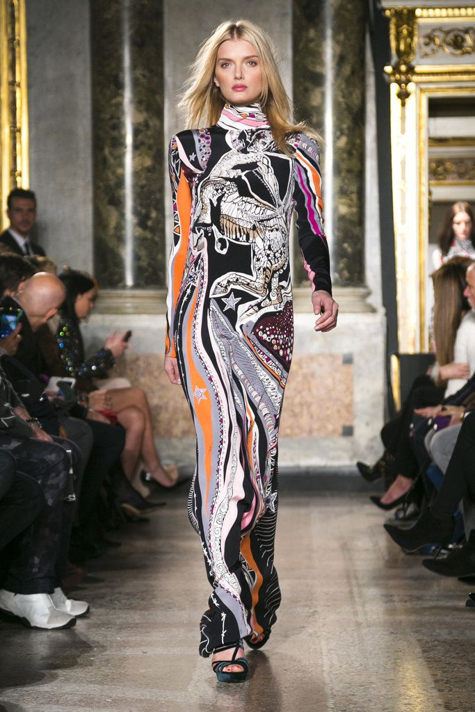 An ankle-length sinuous jersey dress in a swirling zodiac-meets-Pucci print from the Emilio Pucci fall 2015 collection. (Photo: Nowfashion)