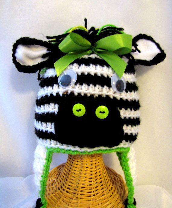 140ab6f4c98 Crochet Zebra Hat Crochet Animal Hat Crochet by KnitsandTidbits ...