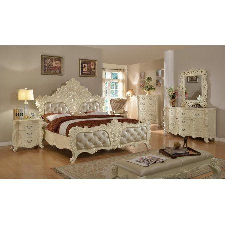 Meridian Novara King Size Bedroom Set 5pcs in Pearl White